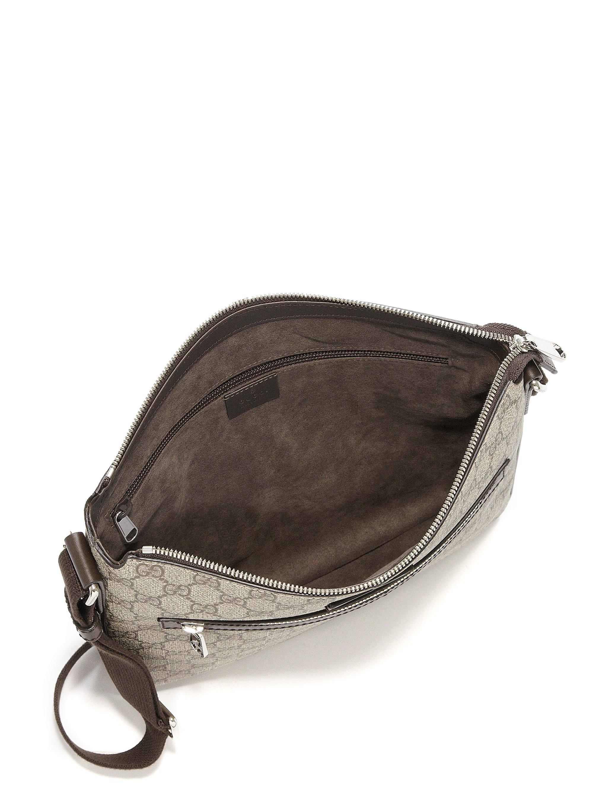 gucci gg supreme canvas flat messenger bag in brown for men brown multi lyst. Black Bedroom Furniture Sets. Home Design Ideas