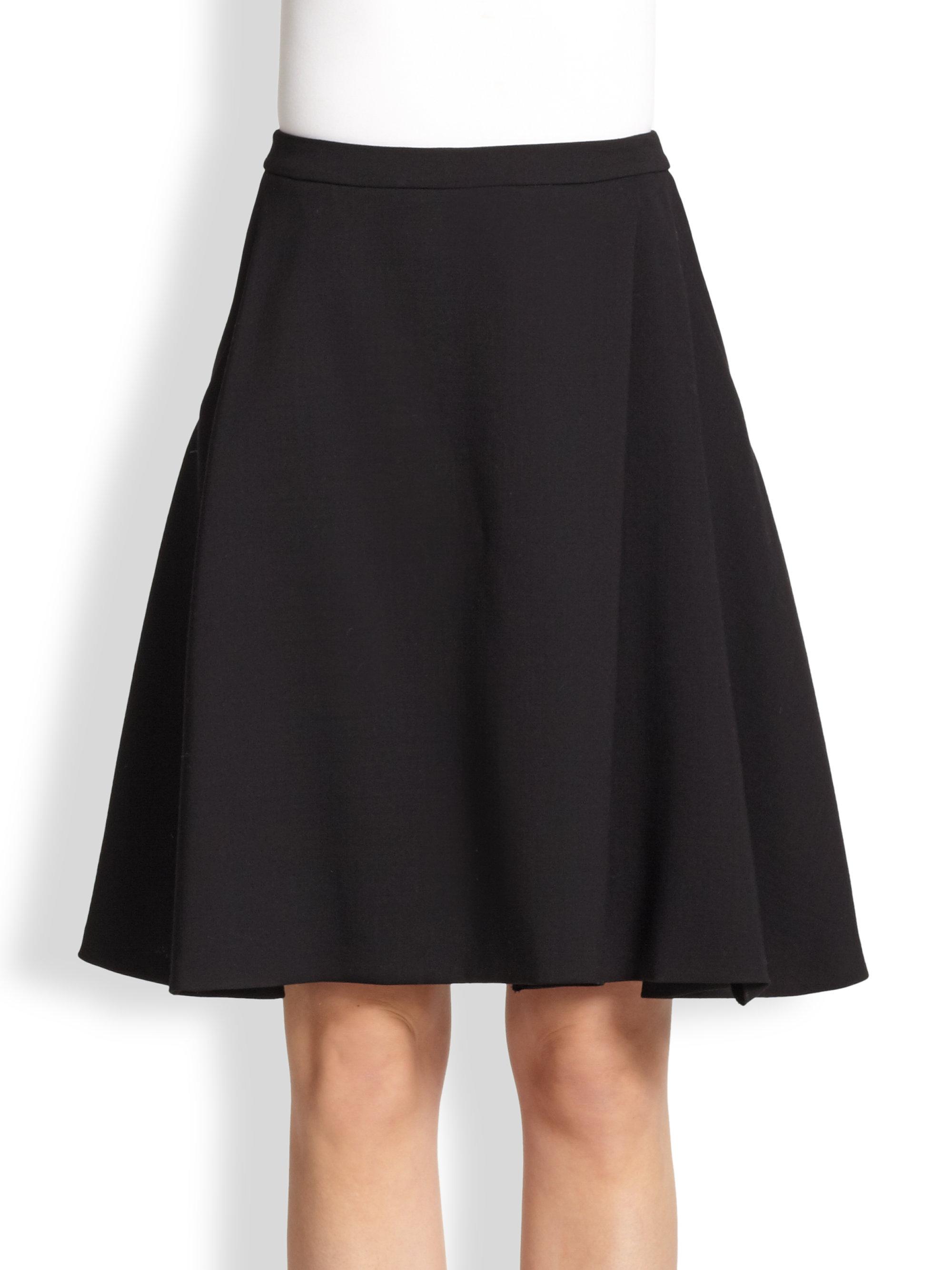 Max mara Wool A-Line Skirt in Black | Lyst