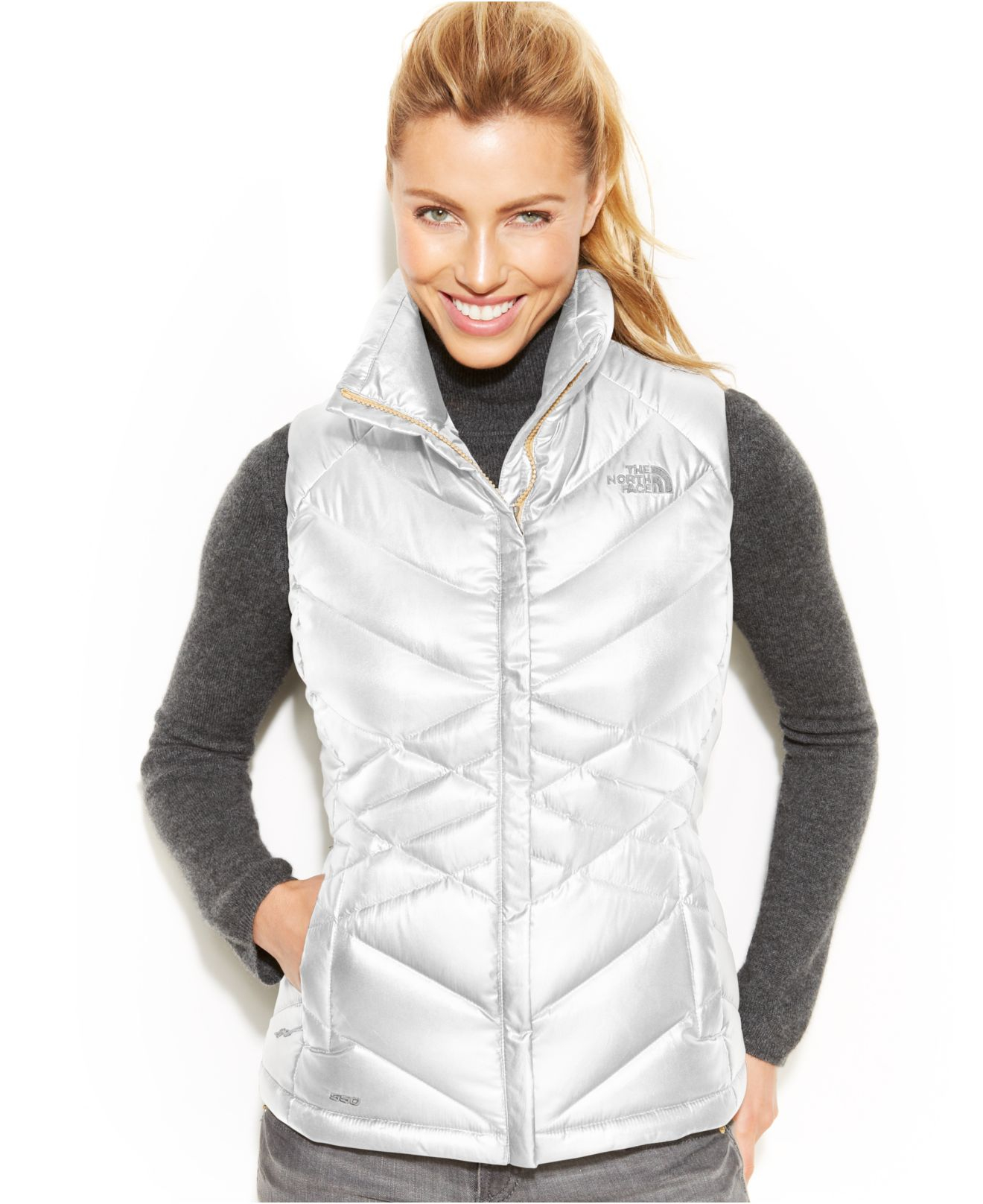 4b9957e644eb ... italy lyst the north face aconcagua puffer down vest in white ed77b  ebe29