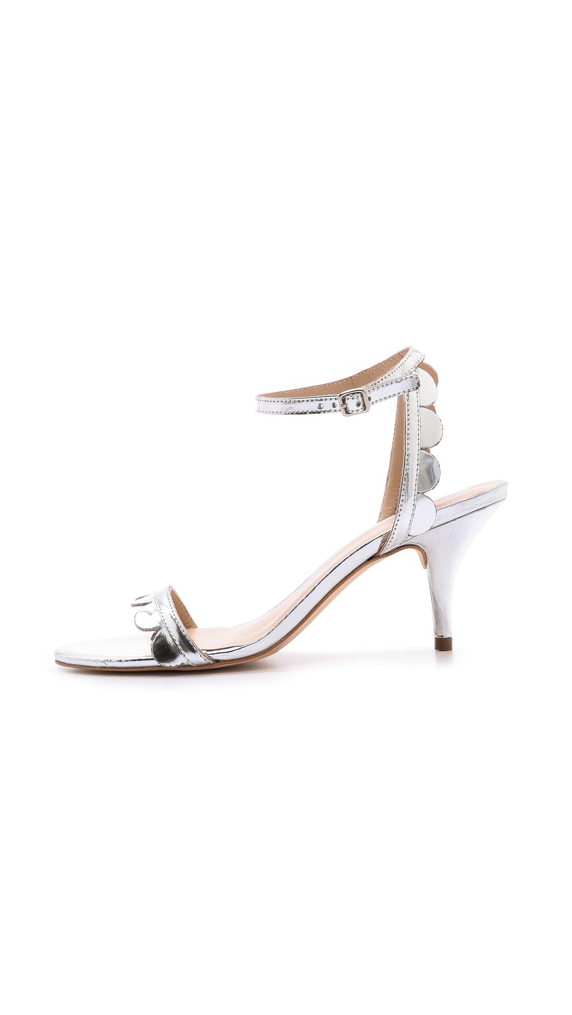Loeffler randall Lillit Scalloped Kitten Heel Sandals Silver in ...