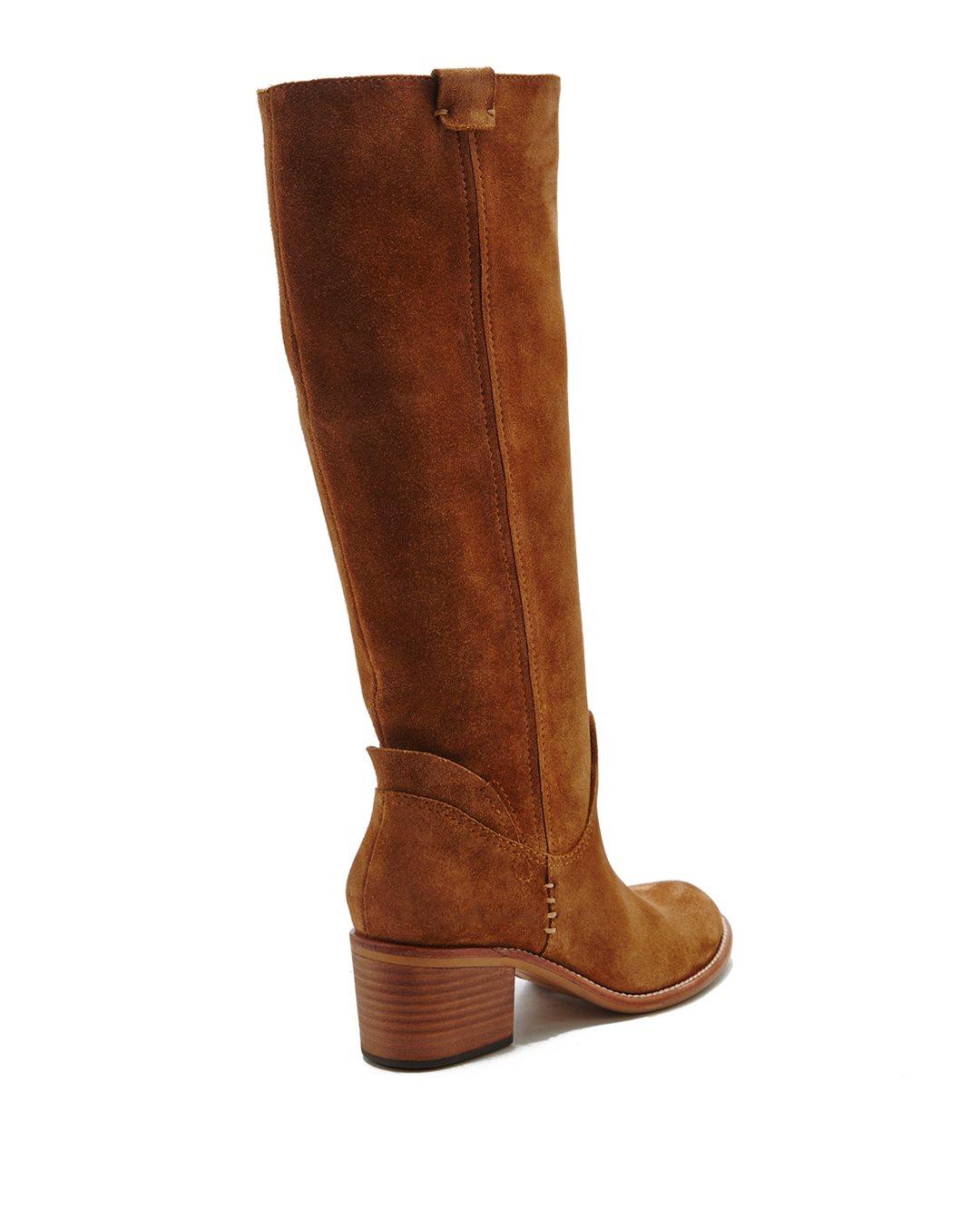 dolce vita garnett suede knee high boots in brown saddle