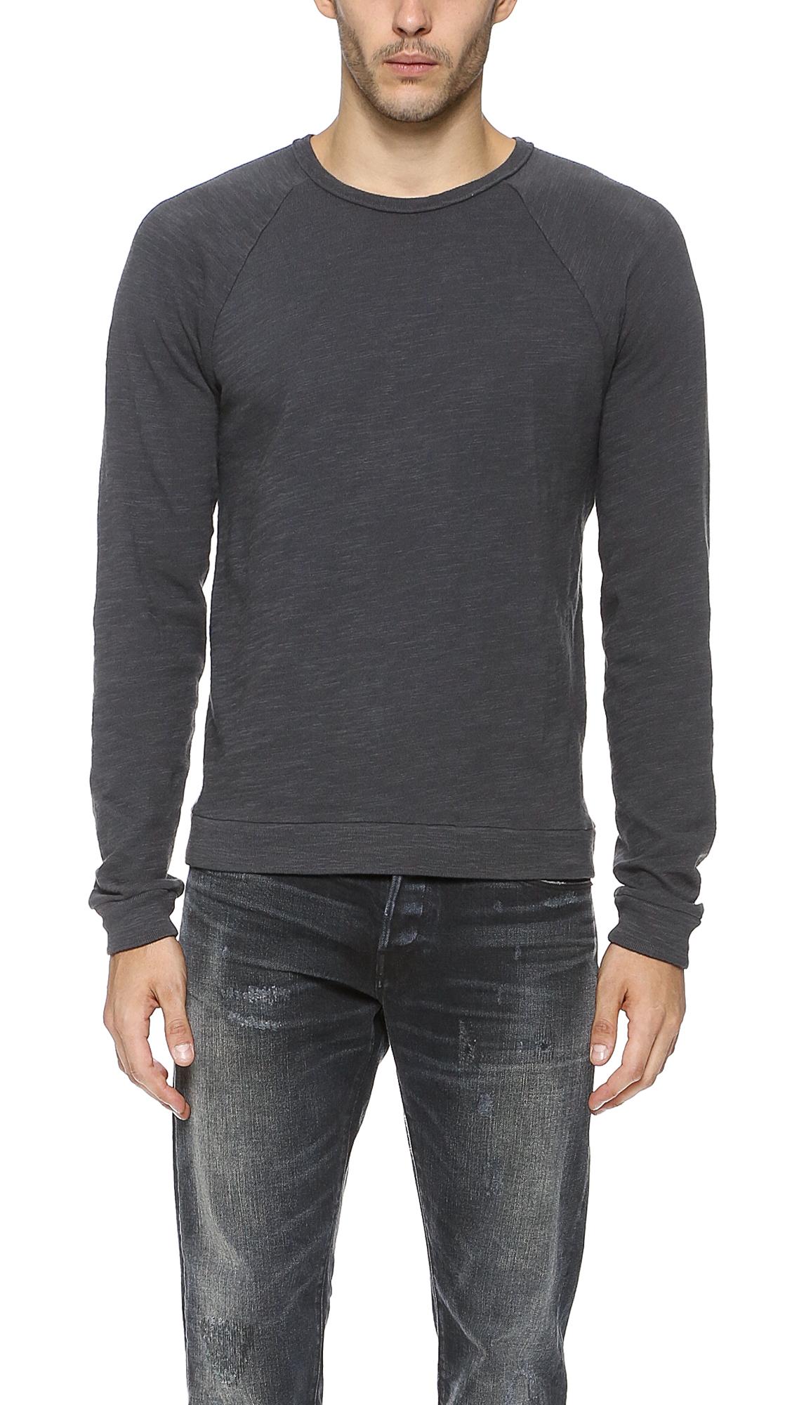 Rag bone long sleeve raglan t shirt in black for men lyst for Rag and bone mens shirts sale
