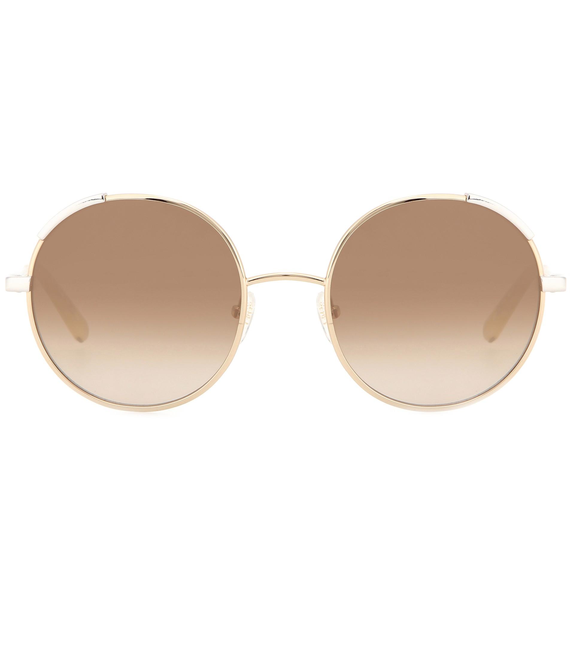 79f7a392e30d Lyst - Chloé Eria Round Sunglasses in Metallic