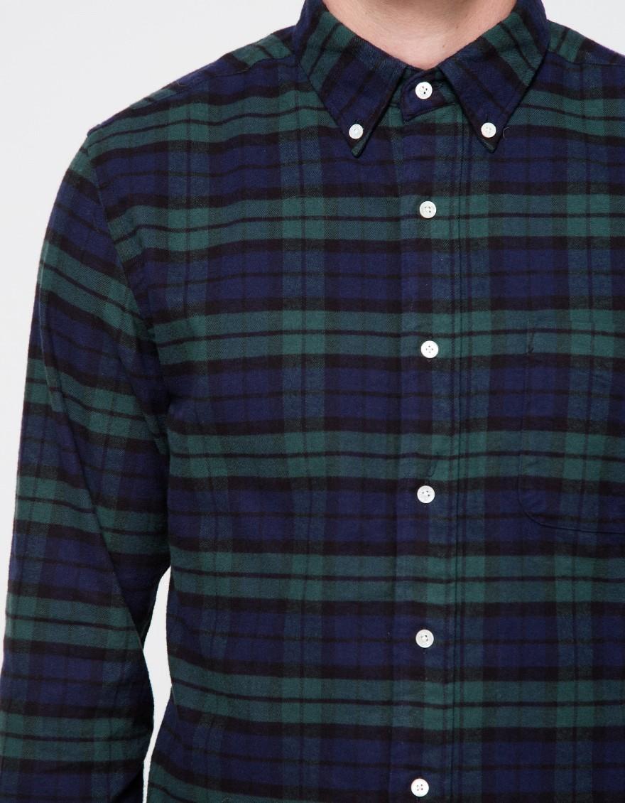 Lyst beams plus b bd flannel b w in black for men for Black watch flannel shirt