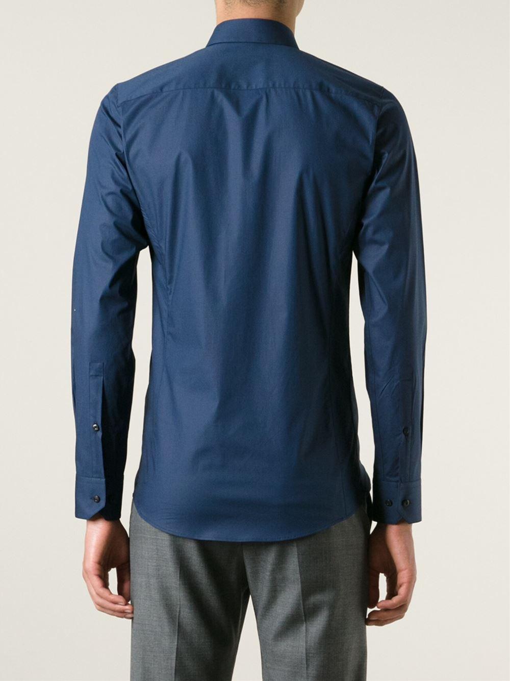 hugo 39 enin 39 slim fit shirt in blue for men lyst. Black Bedroom Furniture Sets. Home Design Ideas
