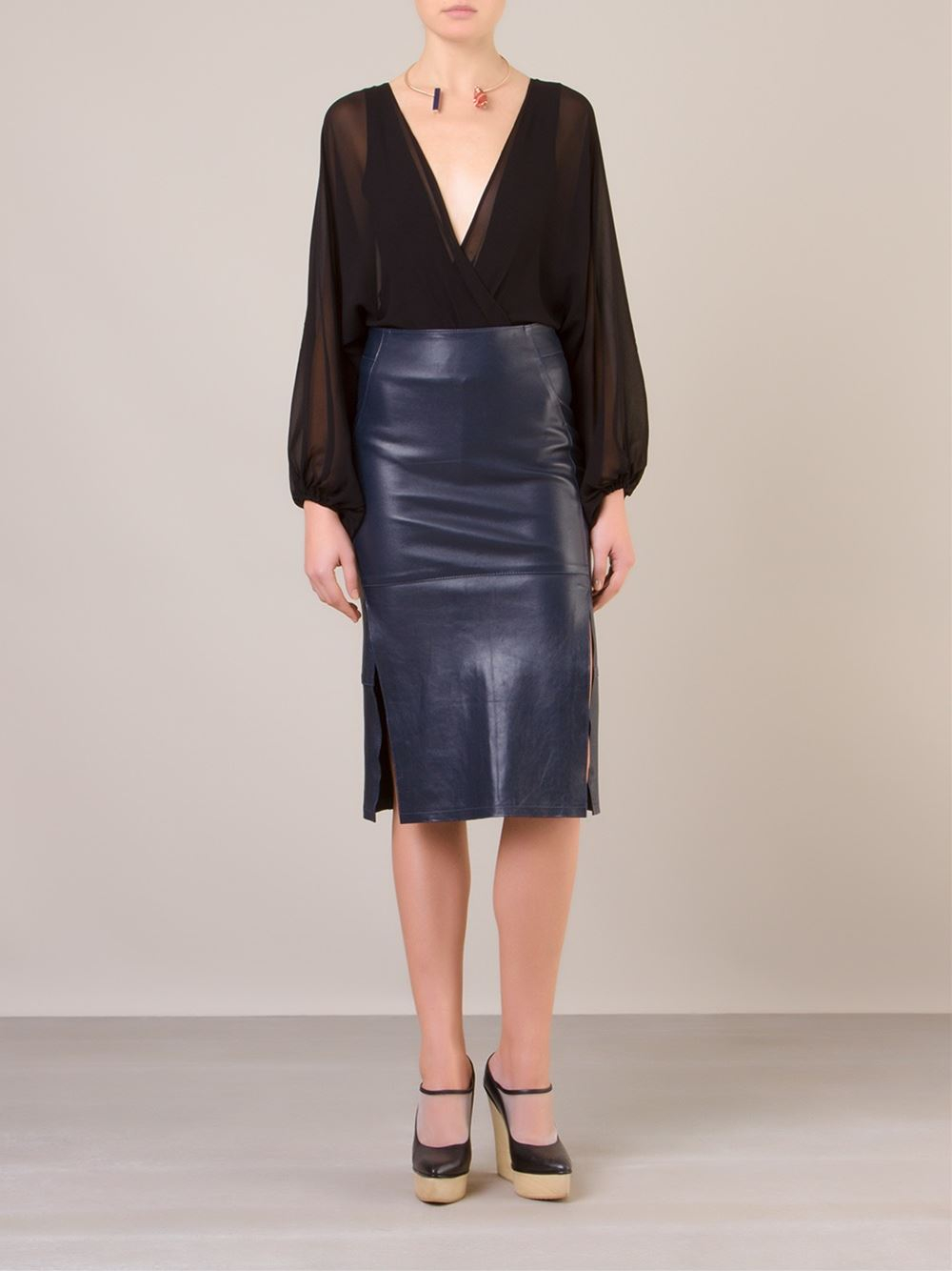 cris barros leather pencil skirt in blue lyst