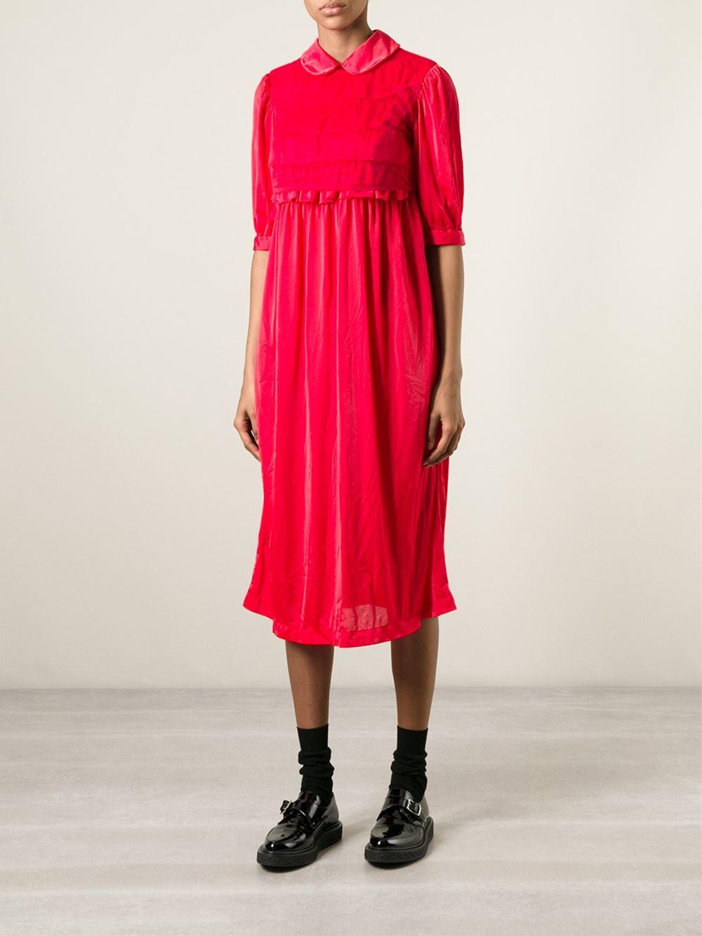 comme des gar ons frill detail dress in red lyst. Black Bedroom Furniture Sets. Home Design Ideas