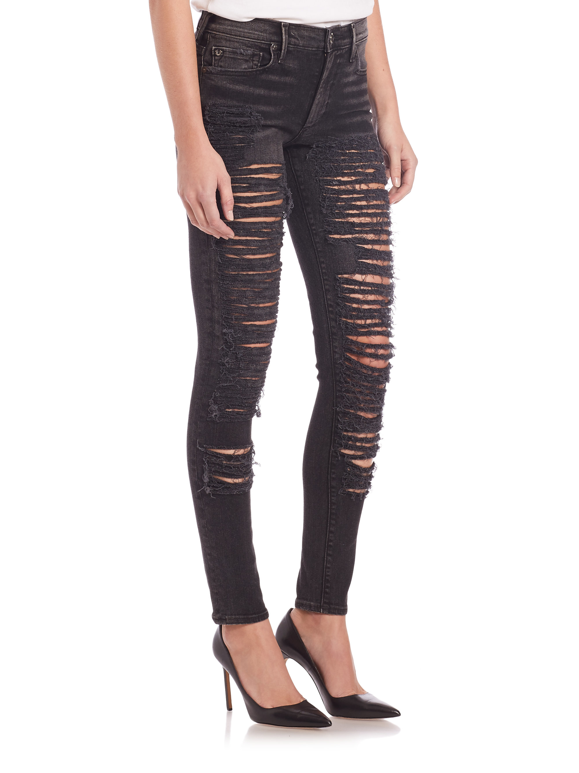 True religion Halle Black Shredded Skinny Jeans in Gray | Lyst