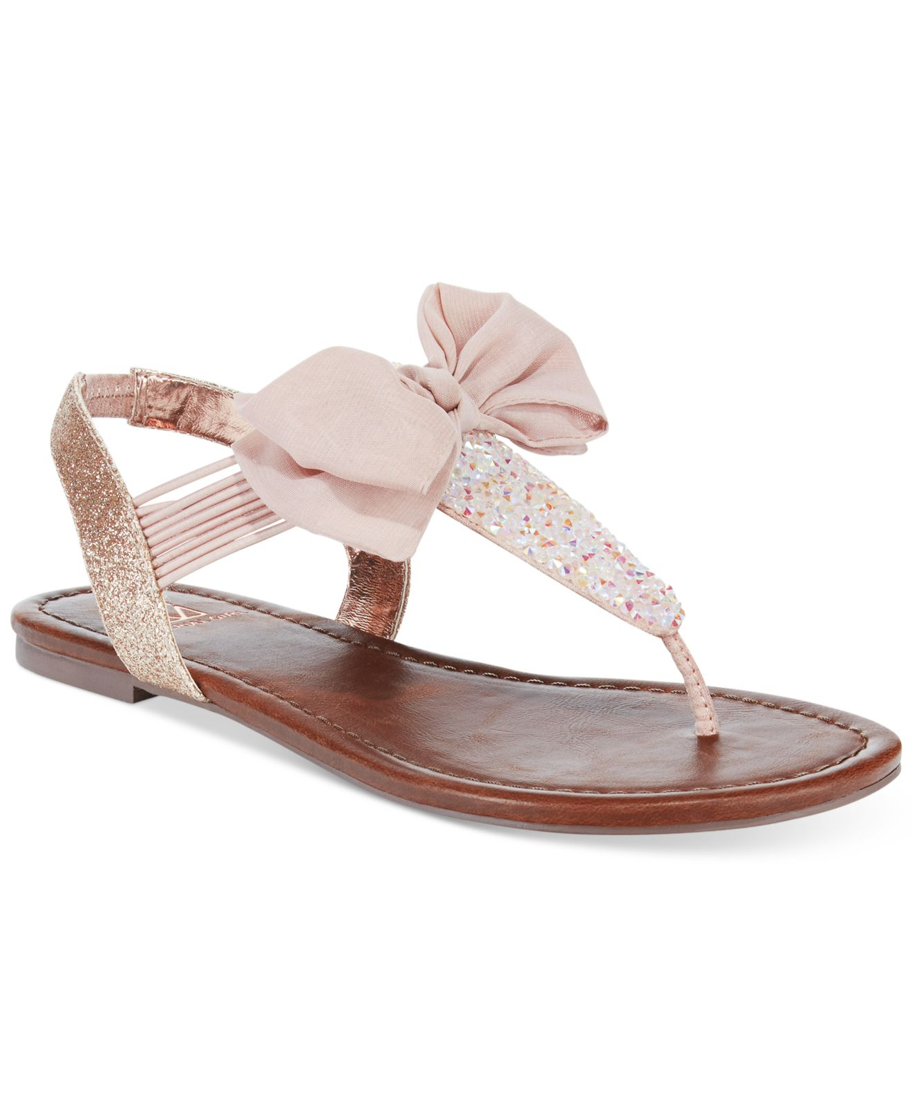 lyst material girl swan flat thong sandals only at macy. Black Bedroom Furniture Sets. Home Design Ideas