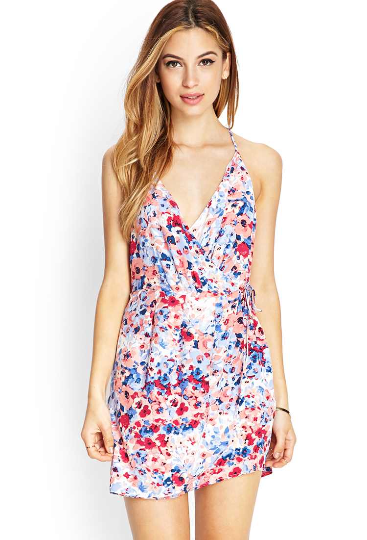 Forever 21 Watercolor Floral Surplice Dress Lyst