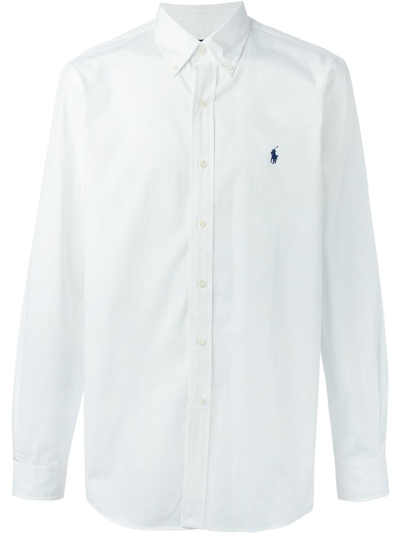 Polo ralph lauren Button Down Collar Shirt in White for Men | Lyst