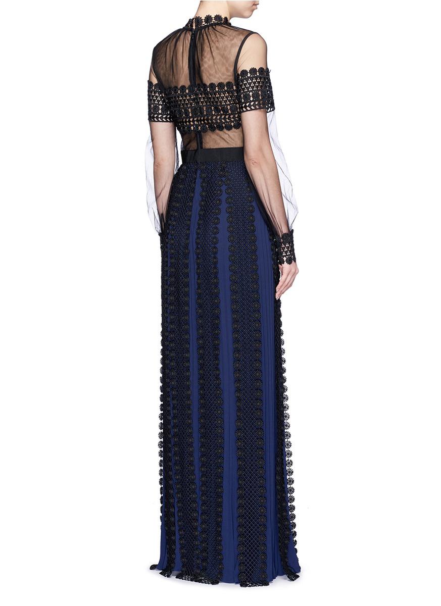 4472459422b5 Self-Portrait Balloon Sleeve Tulle Lace Pleat Maxi Dress - Lyst