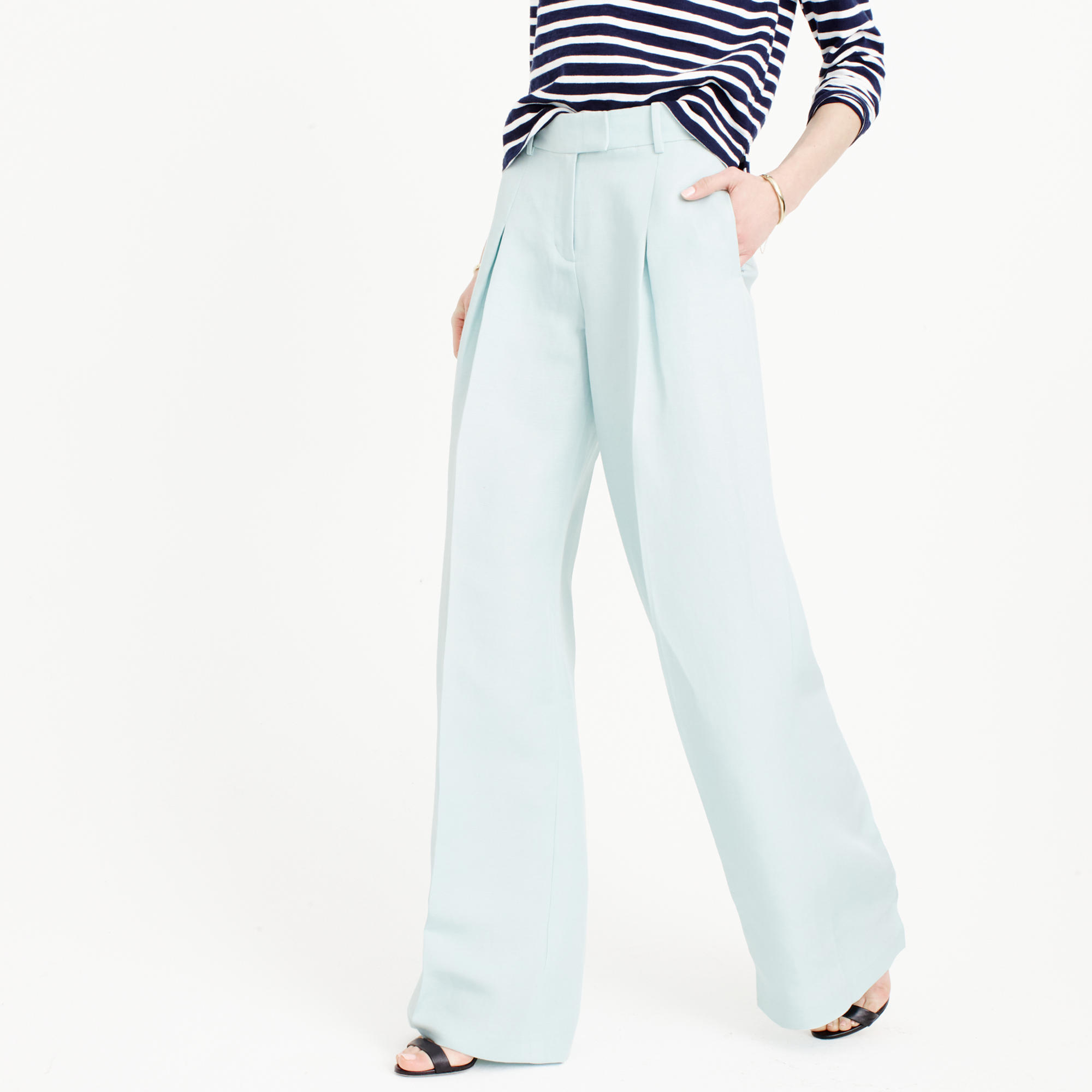 J.crew Collection Wide-leg Pant In Silk-linen in Blue | Lyst