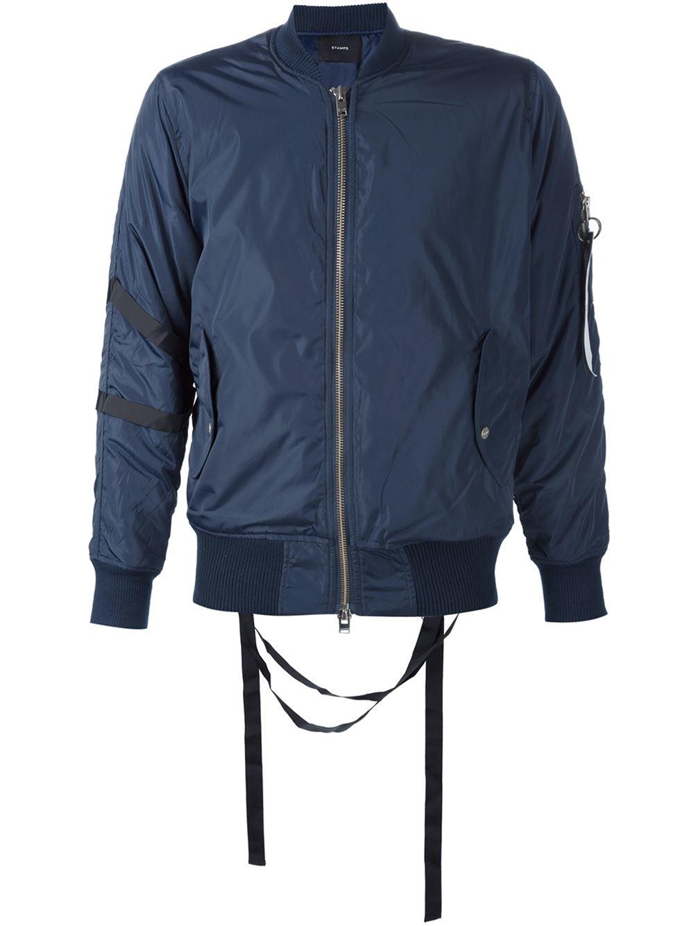 Lyst Stampd Sleeve Pocket Bomber Jacket In Blue For Men