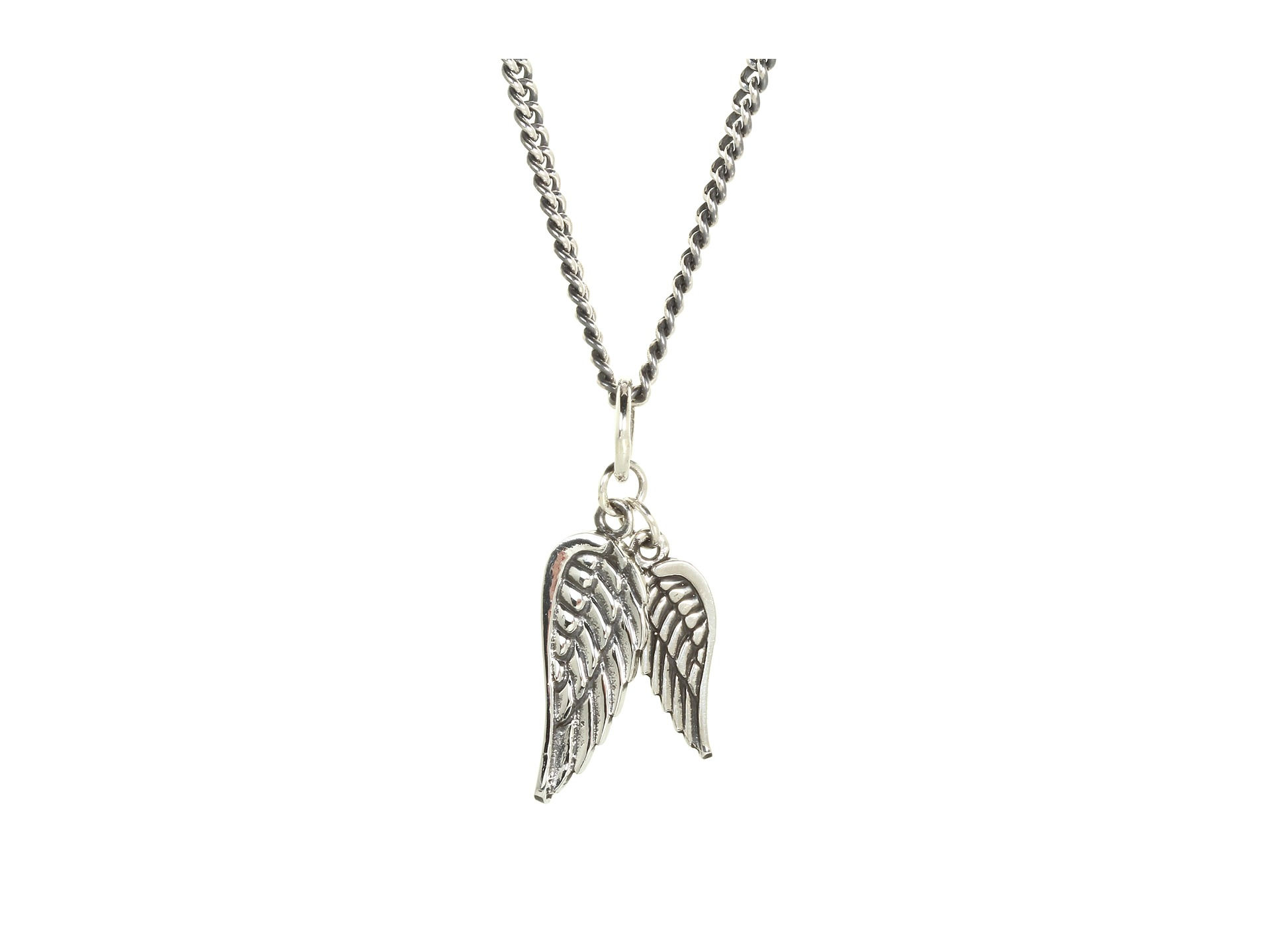 King baby studio silver double wing pendant necklace lyst for King baby jewelry sale