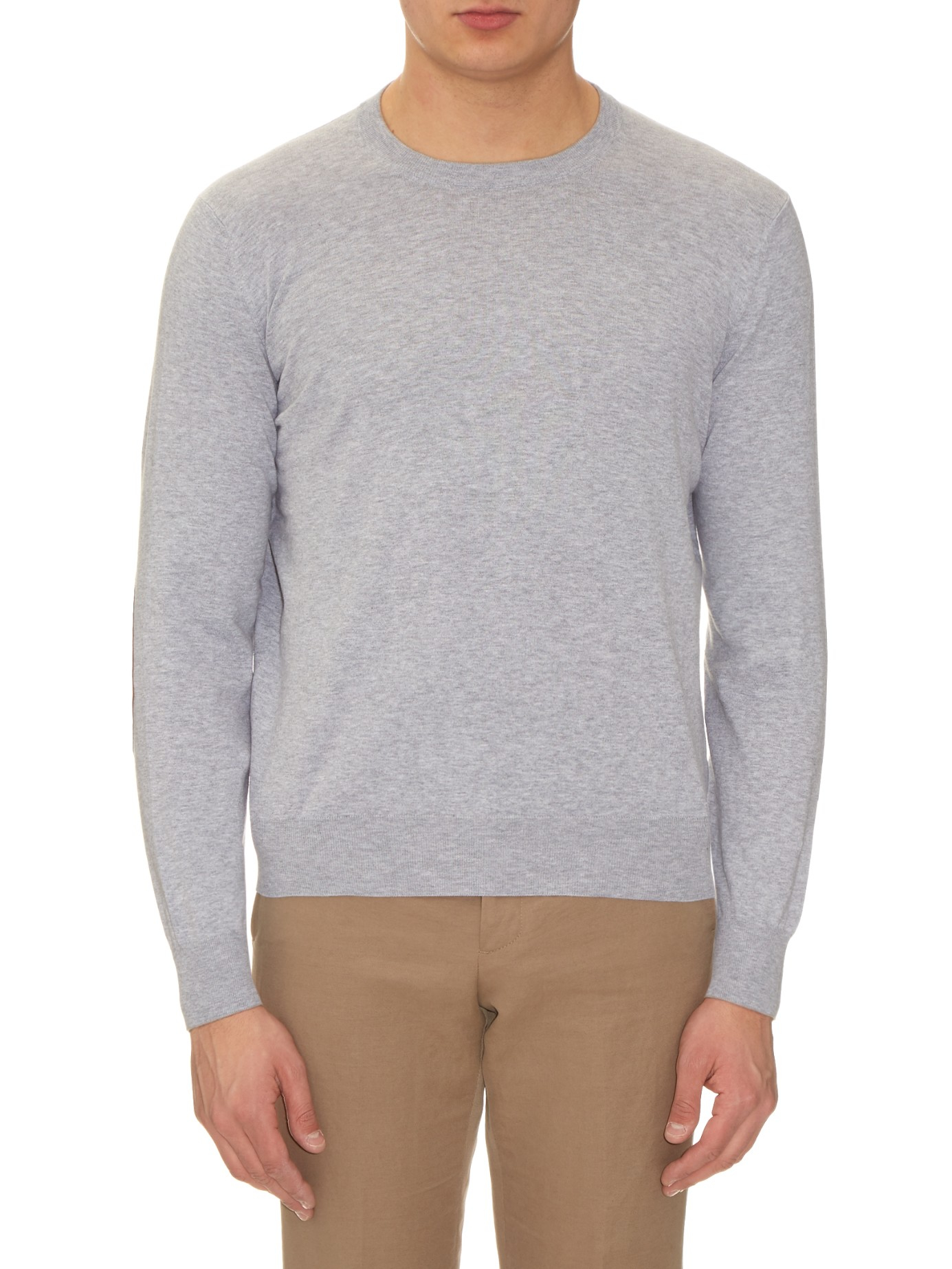 Brunello cucinelli Elbow-patch Cotton Sweater in Gray for Men | Lyst