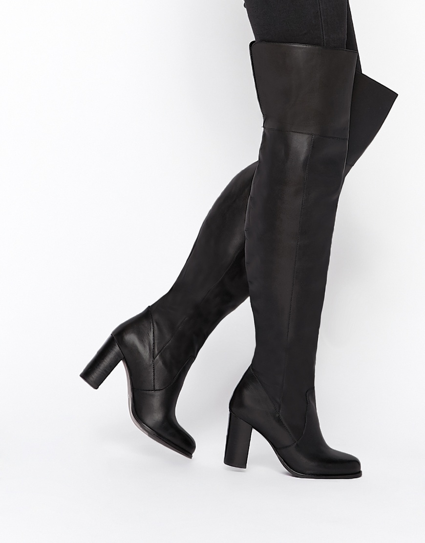 3270fa82f2191c Lyst - ASOS Kickster Leather Over The Knee Boots in Black