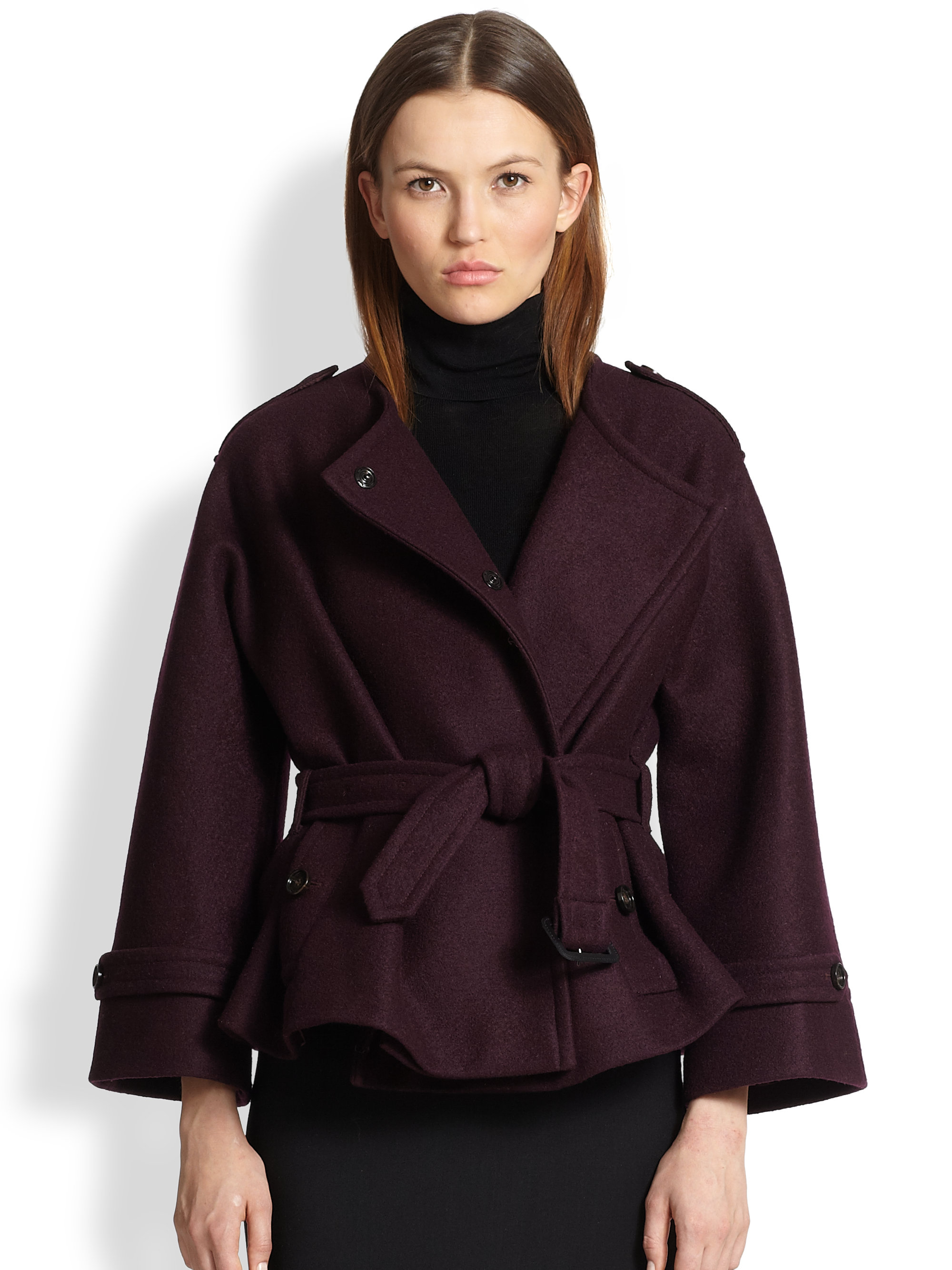 Burberry Barwell Short Belted Wool Cape Coat in Purple | Lyst