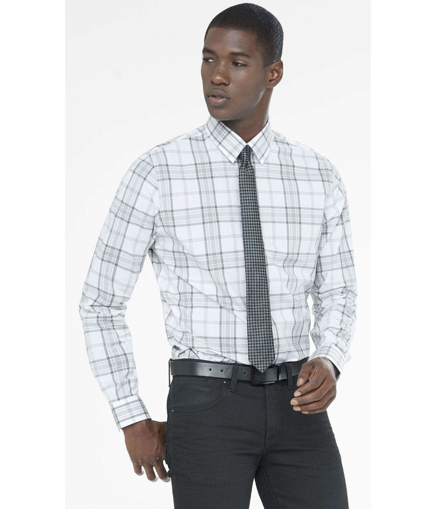 Express fitted plaid dress shirt in gray for men crystal for Grey plaid shirt womens