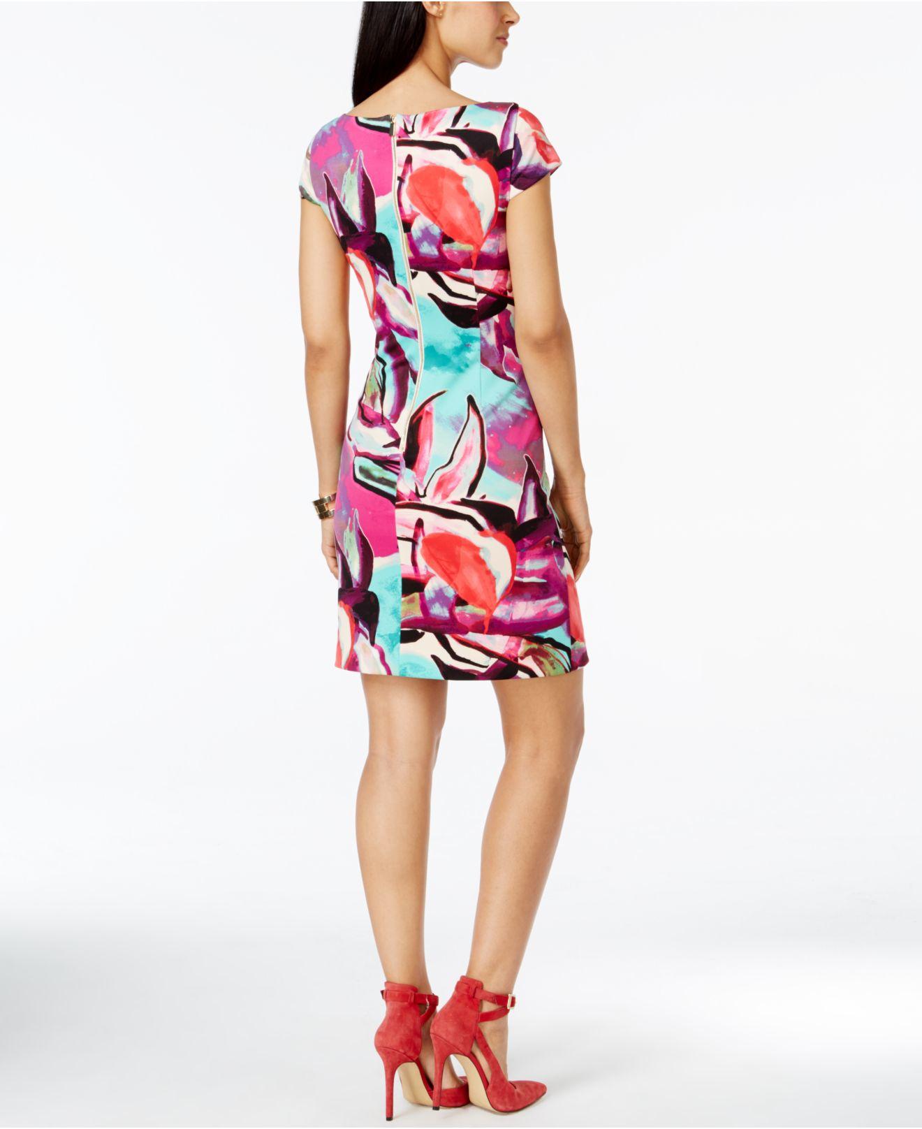 84aaee90 Vince Camuto Cap-sleeve Exploded Floral Print Sheath Dress - Lyst