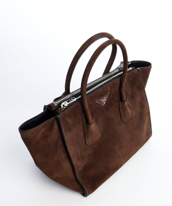 ebe8a01f35d low price prada brown suede twin pocket tote bag in brown lyst cc5b7 ff079