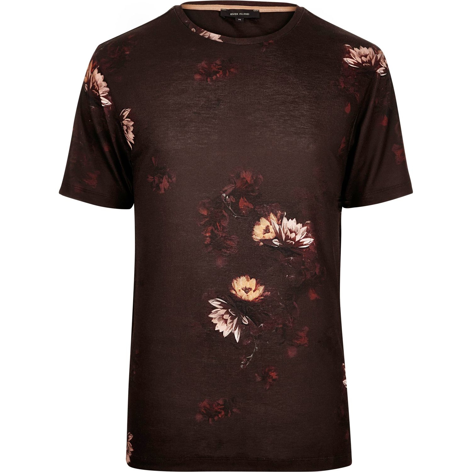 River island dark red faded floral print t shirt in red for Faded color t shirts