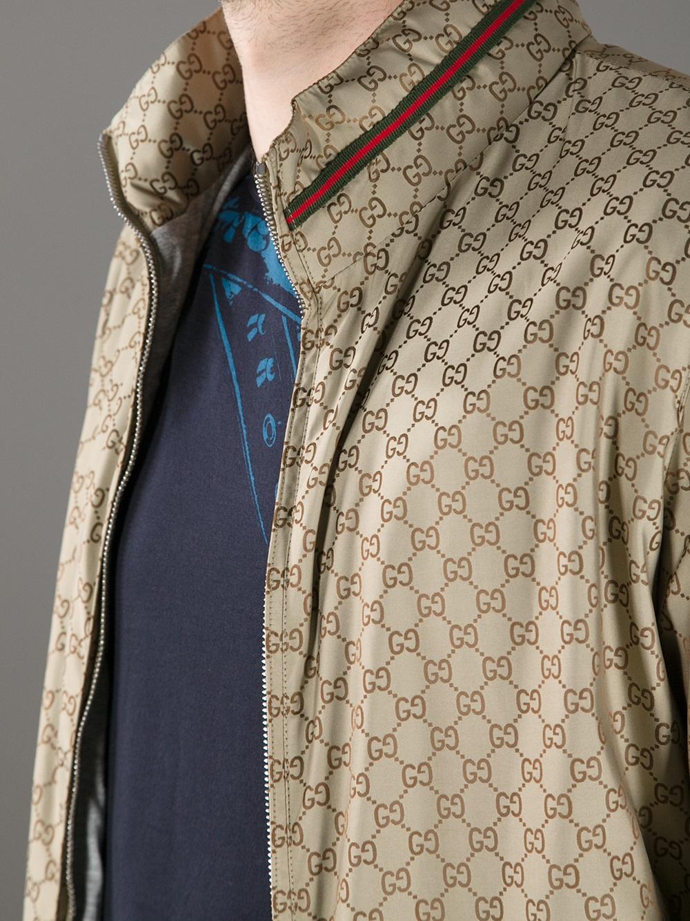 Lyst Gucci Logo Print Bomber Jacket In Metallic For Men