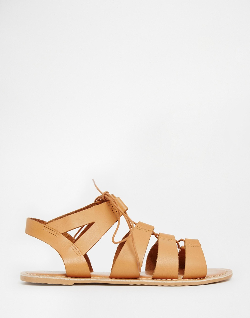 b83aa97ee082 Lyst - ASOS Foss Leather Lace Up Sandals in Brown