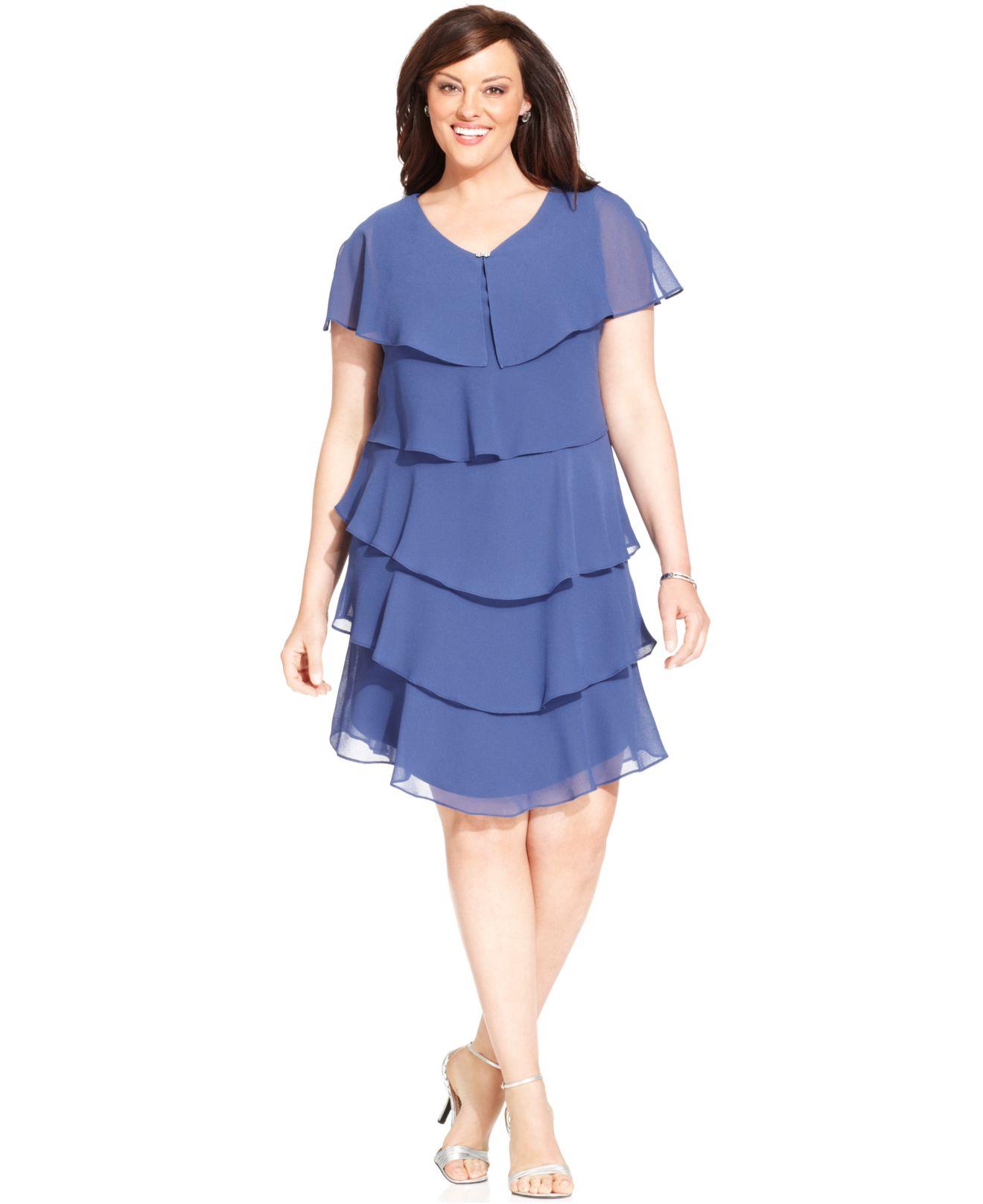 Plus Size Shortsleeve Tiered Dress