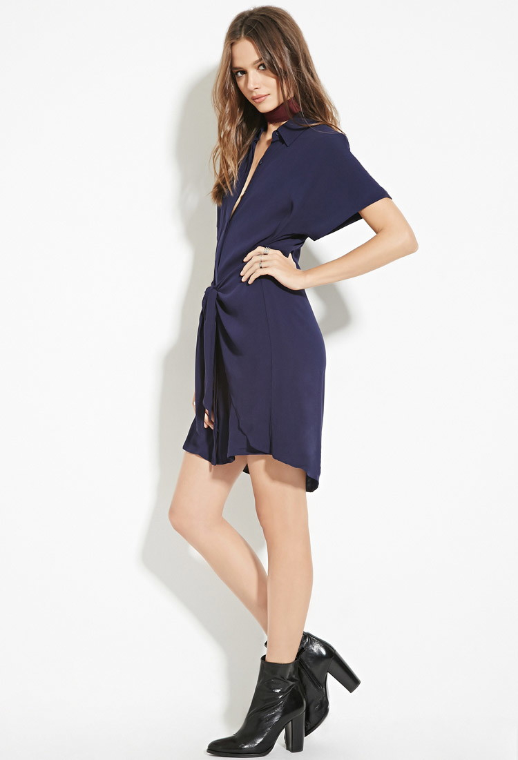 Forever 21 Contemporary Wrap Tie Shirt Dress In Blue Lyst