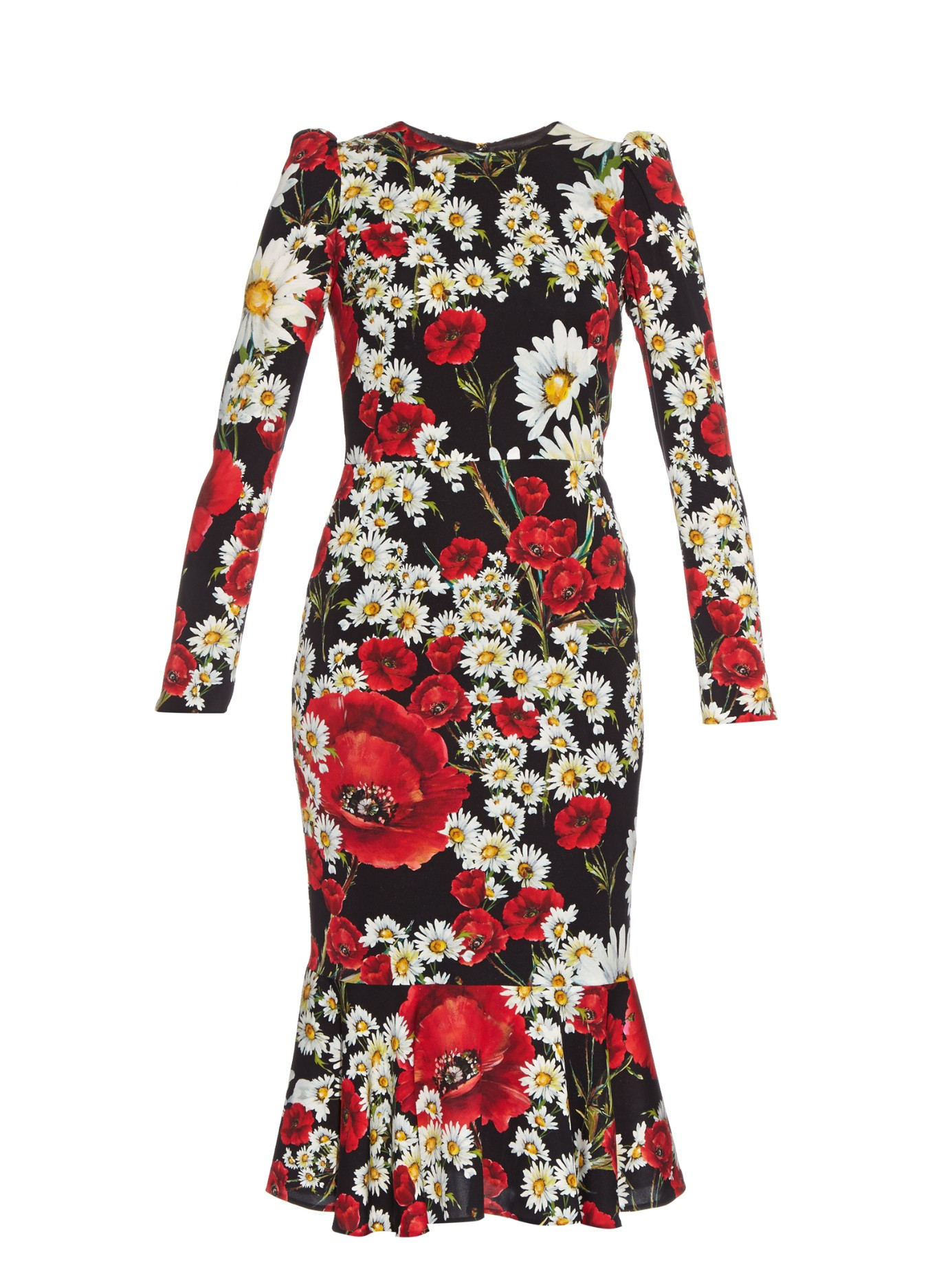 e14999c7 Dolce & Gabbana Poppy And Daisy-print Dress in Red - Lyst