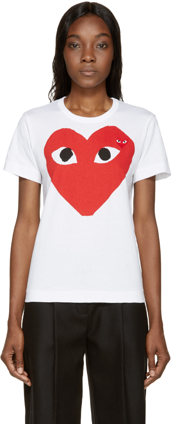 Play Comme Des Gar Ons White Double Heart T Shirt In White