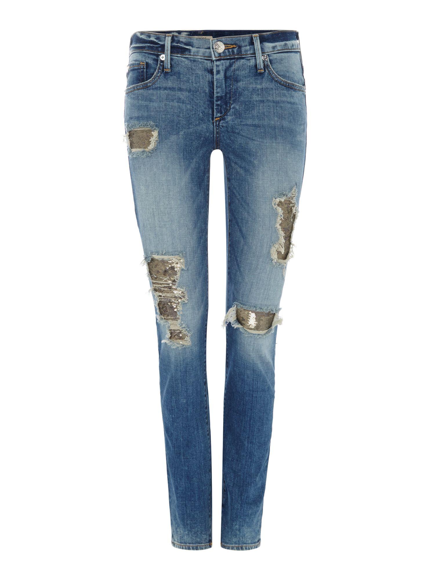 true religion casey low rise super skinny jean in blue. Black Bedroom Furniture Sets. Home Design Ideas