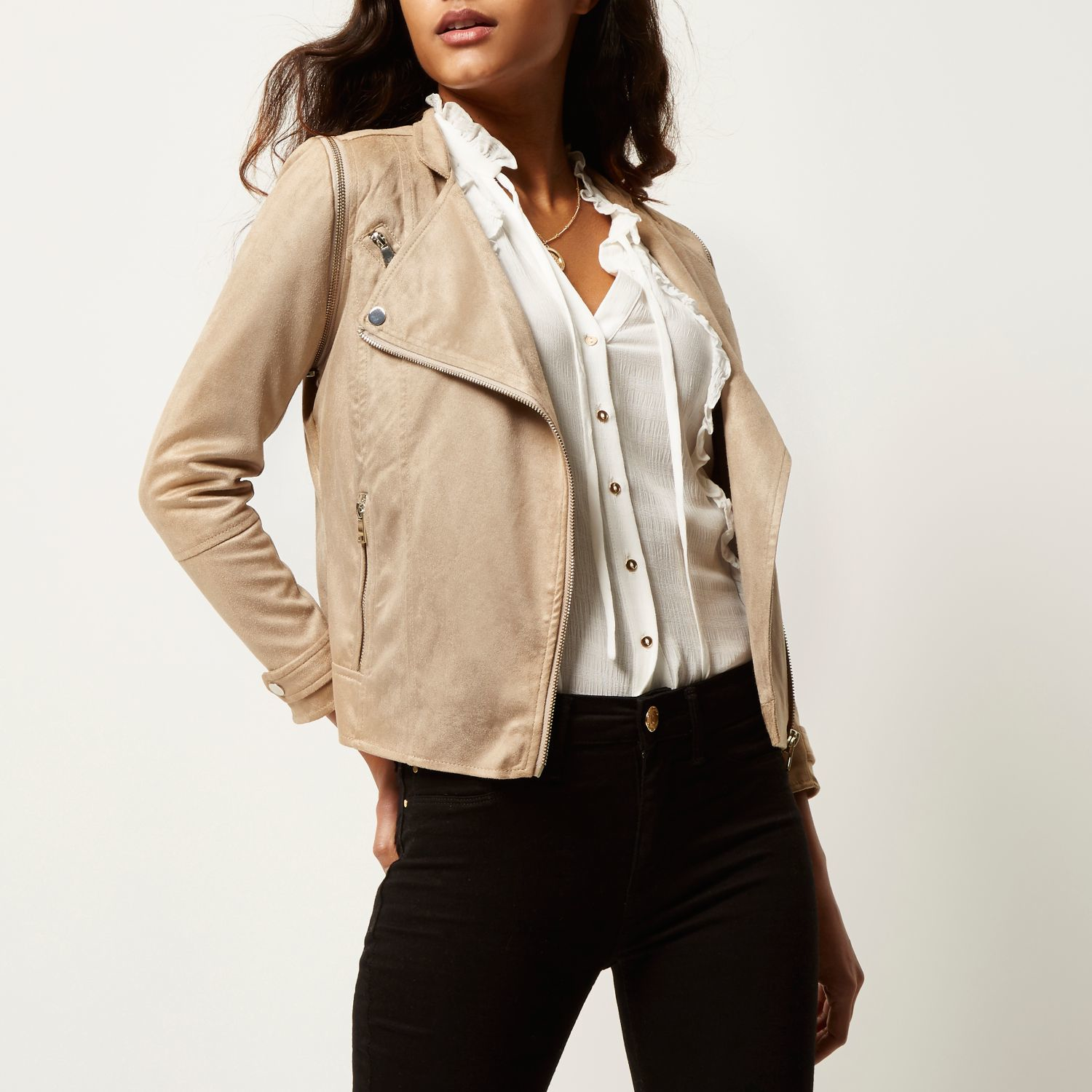 Missguided Raw Seam Faux Suede Trench Coat Nude in Sand