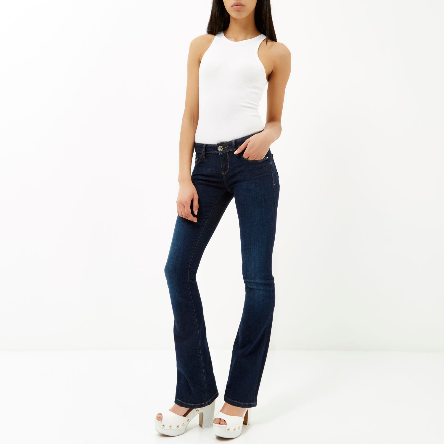 River Island Dark Wash Hailey Low Rise Bootcut Jeans in Blue