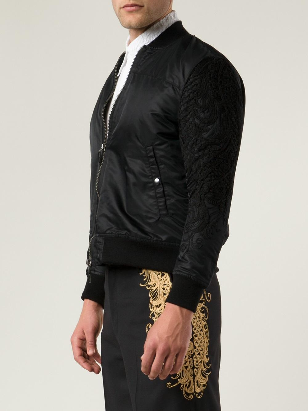 Christian Dada Embroidered Sleeve Jacket in Black for Men