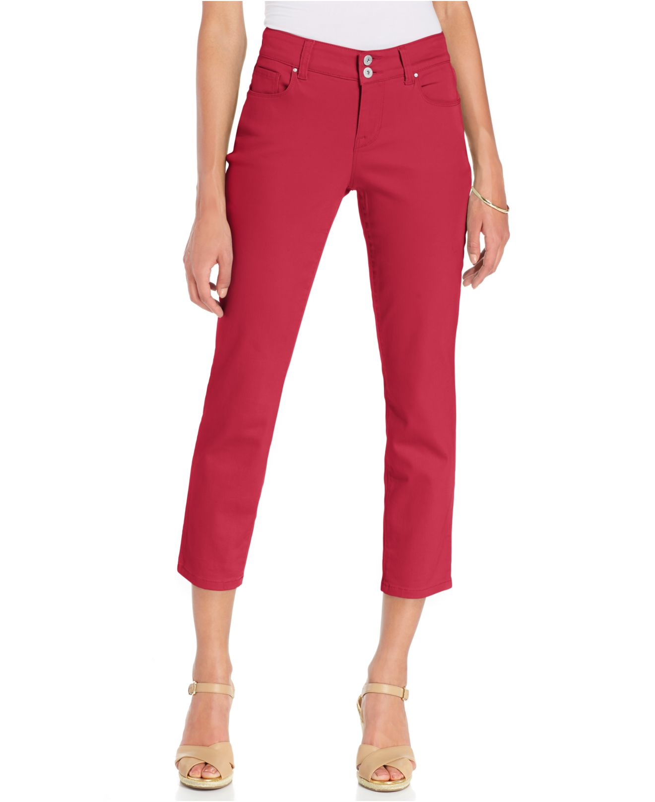 Style & co. Curvy-Fit Capri Pants in Red | Lyst