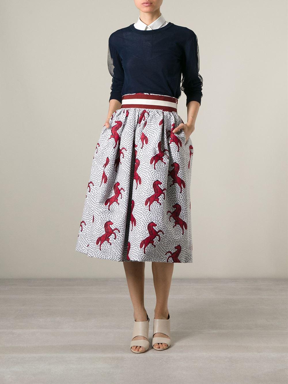 75078ffbd9 Stella Jean 'Pipistrello' Horse Print Pouf Skirt in White - Lyst