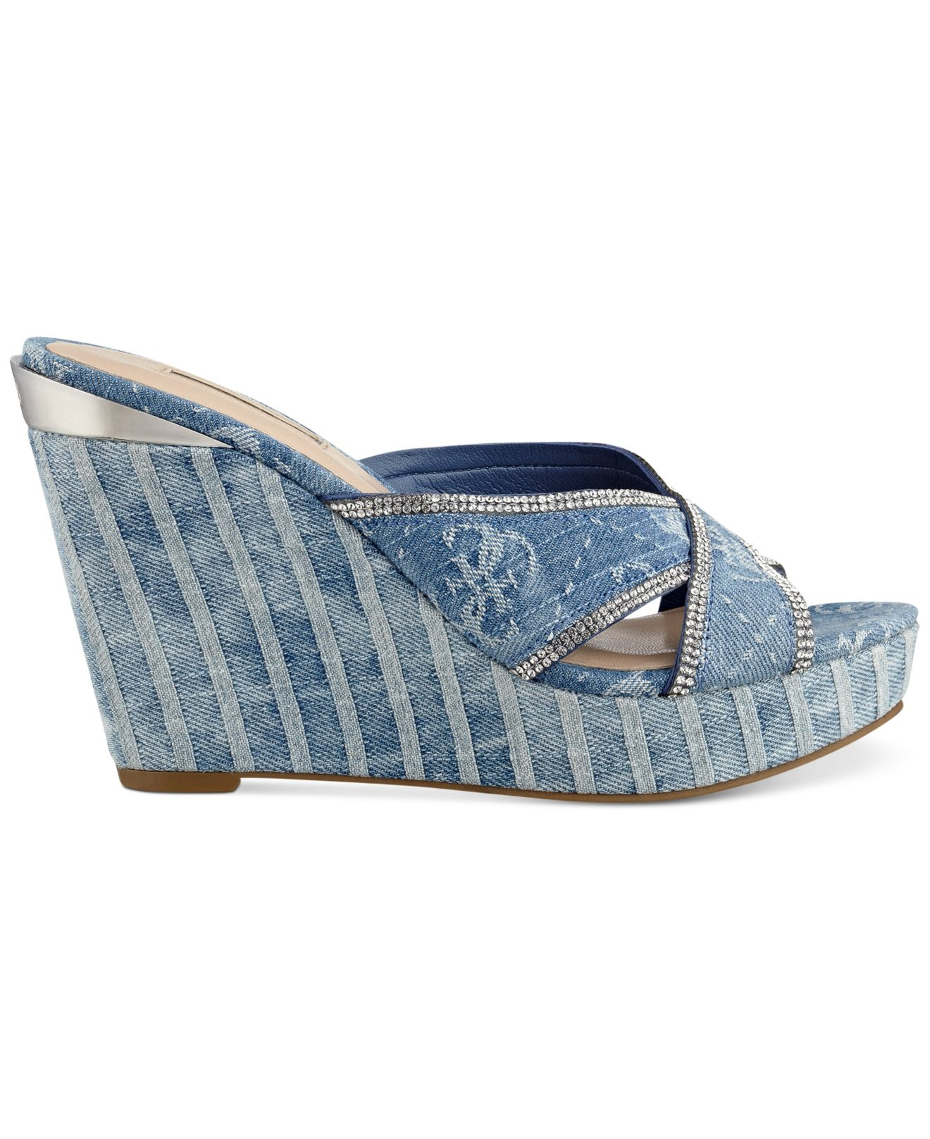 1d2570bf493 Lyst - Guess Eleonora Platform Wedge Slide Sandals in Blue