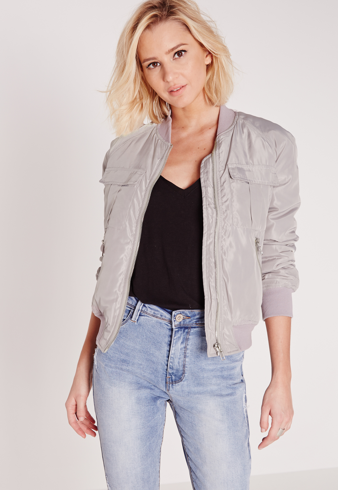 Missguided Utility Bomber Jacket Light Grey in Gray | Lyst