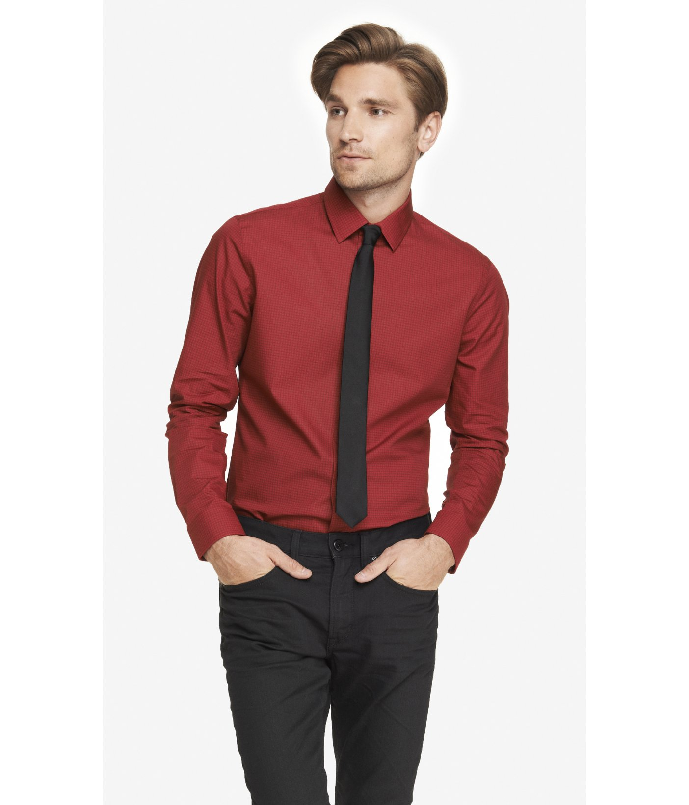 Express Fitted Printed Dress Shirt in Red for Men  Lyst