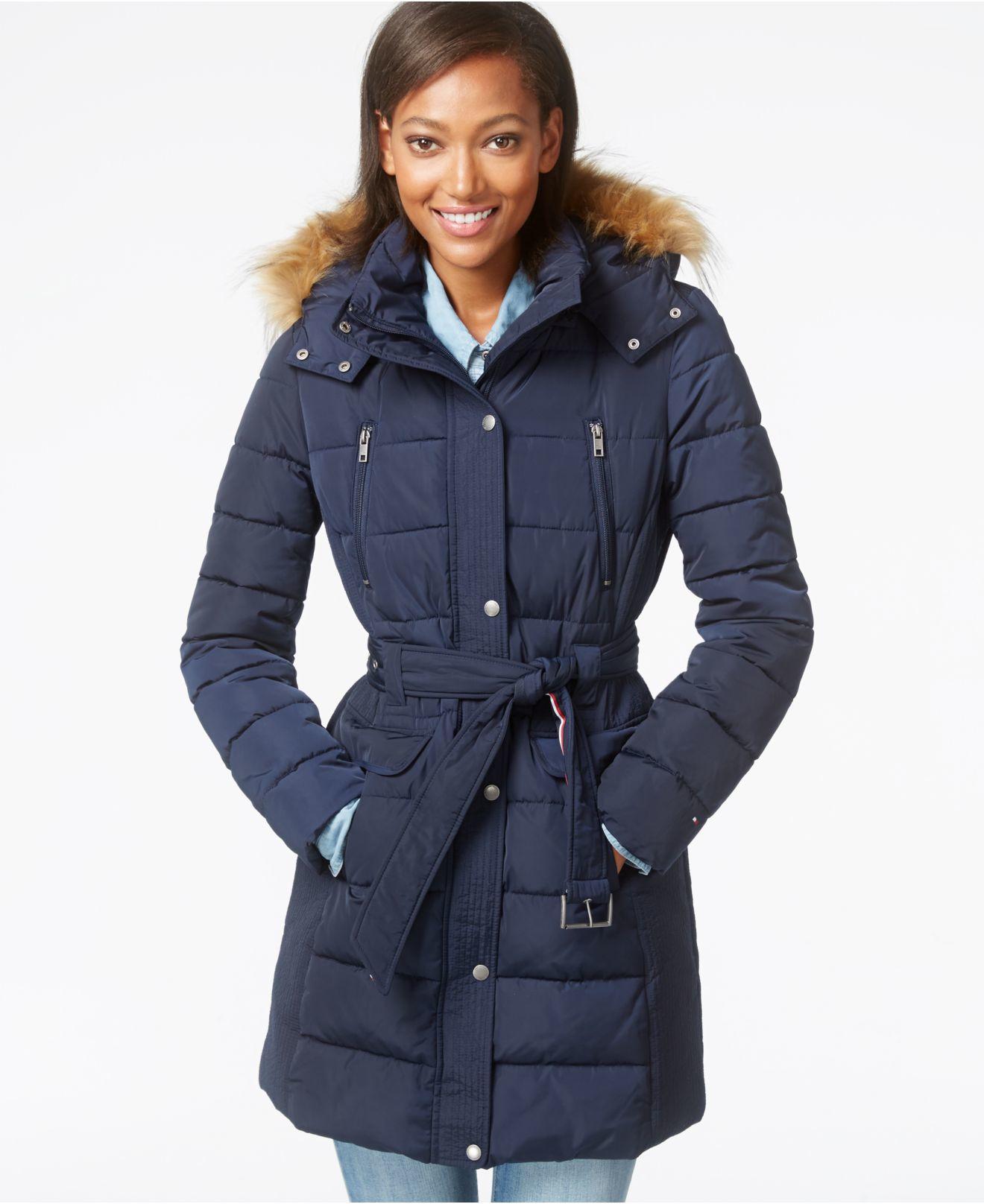 648573662c004 Lyst Tommy Hilfiger Faux Fur Trim Belted Puffer Coat In Blue