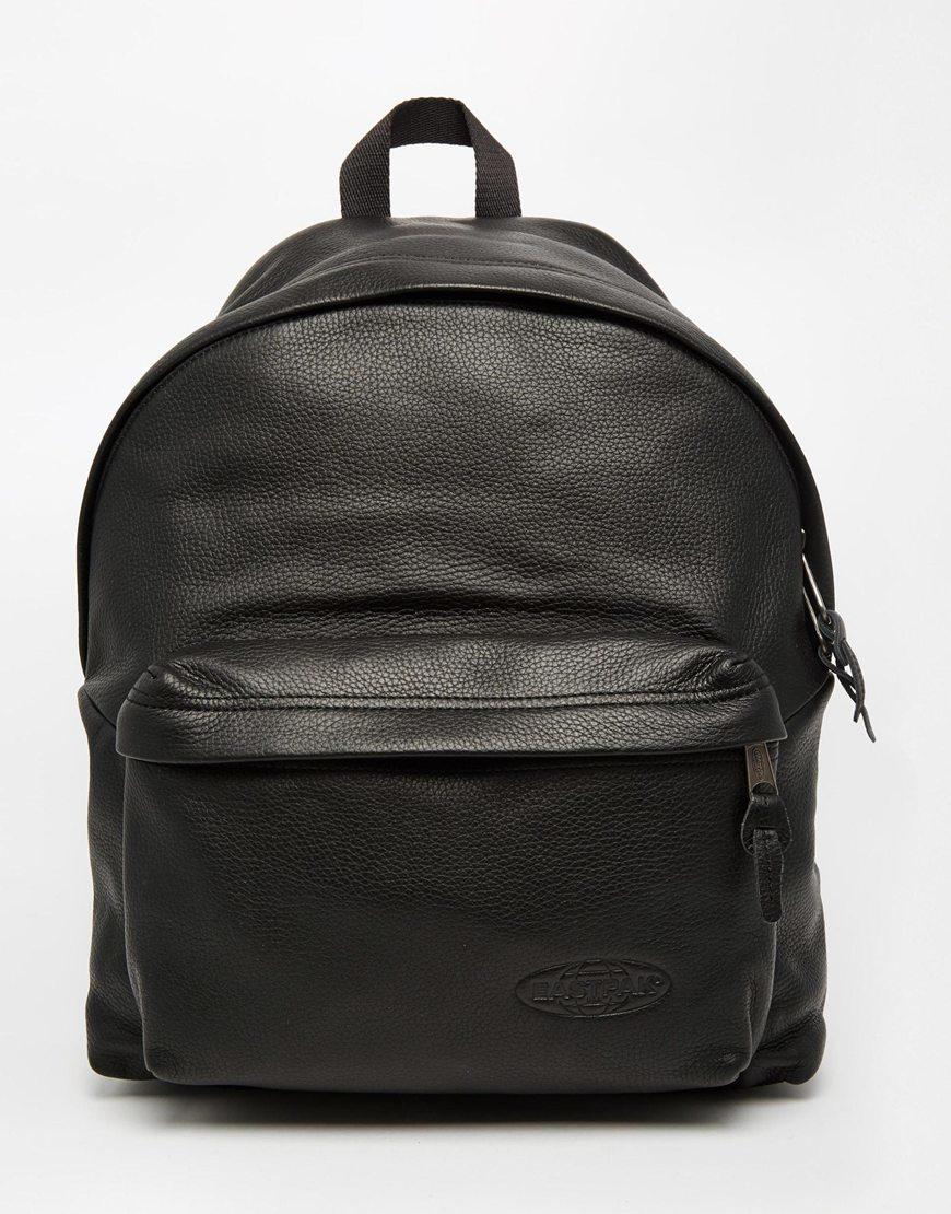 Leather Eastpak Backpack: Eastpak Padded Pak'r Leather Backpack In Black For Men