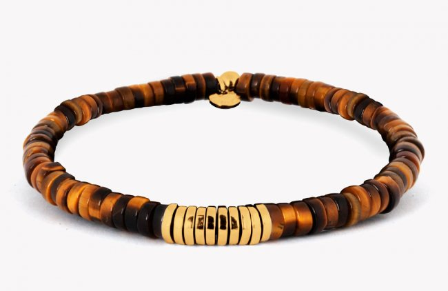 Tateossian Bamboo Bracelet With Tiger Eye And Yellow Gold