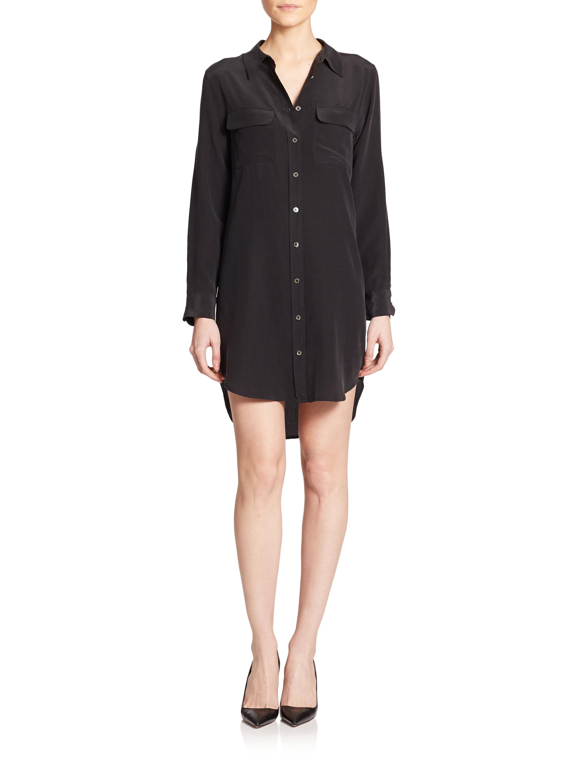 Equipment slim signature silk shirtdress in black lyst for Equipment black silk shirt