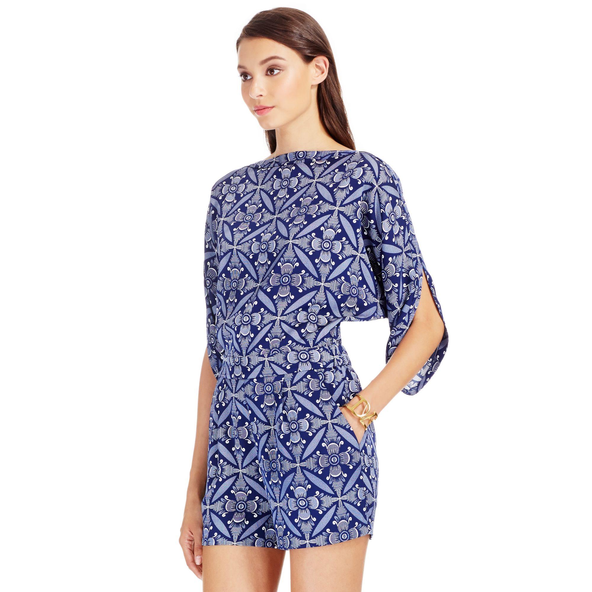 7dcf2b194a1 Lyst - Diane von Furstenberg Dvf Soleil Silk Romper in Blue