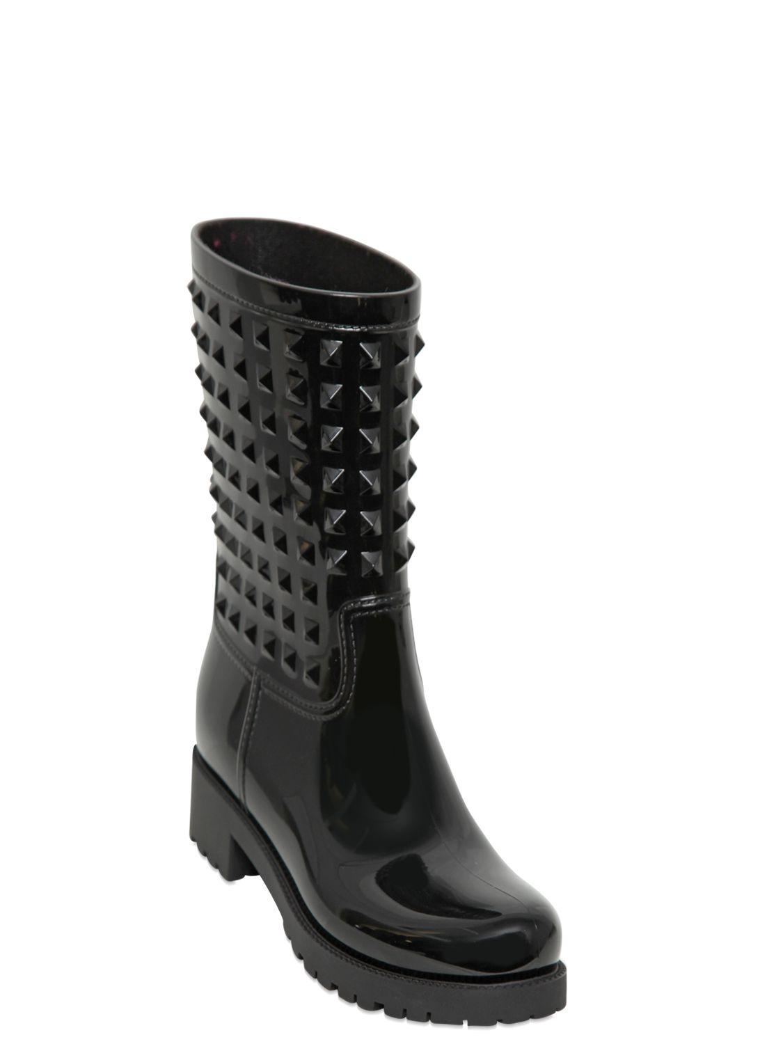 Valentino Rubber Studded Rain Boots In Black Lyst