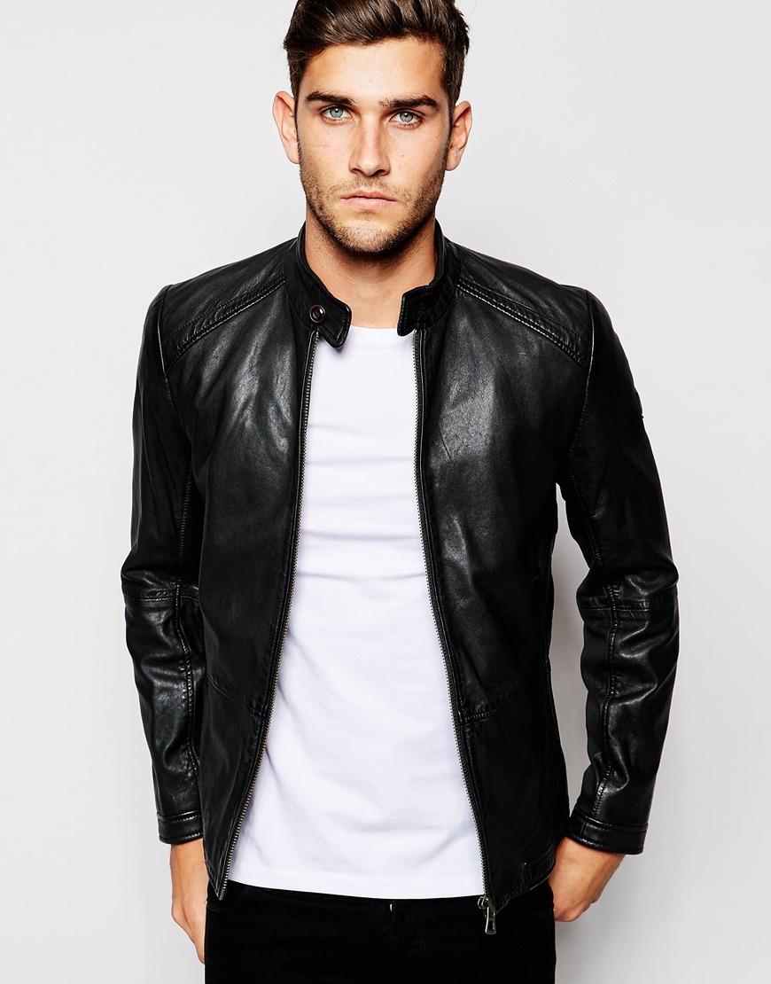 boss orange leather jacket in black for men lyst. Black Bedroom Furniture Sets. Home Design Ideas
