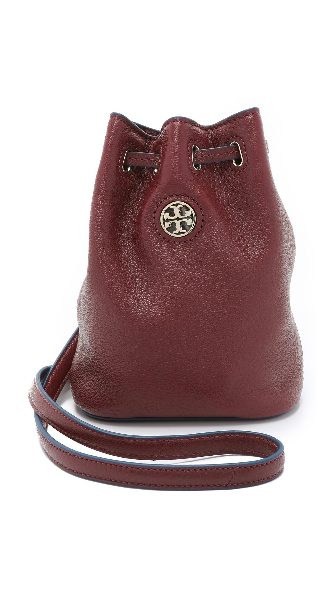 Tory Burch Brody Mini Bucket Bag Deep Berry In Red Deep