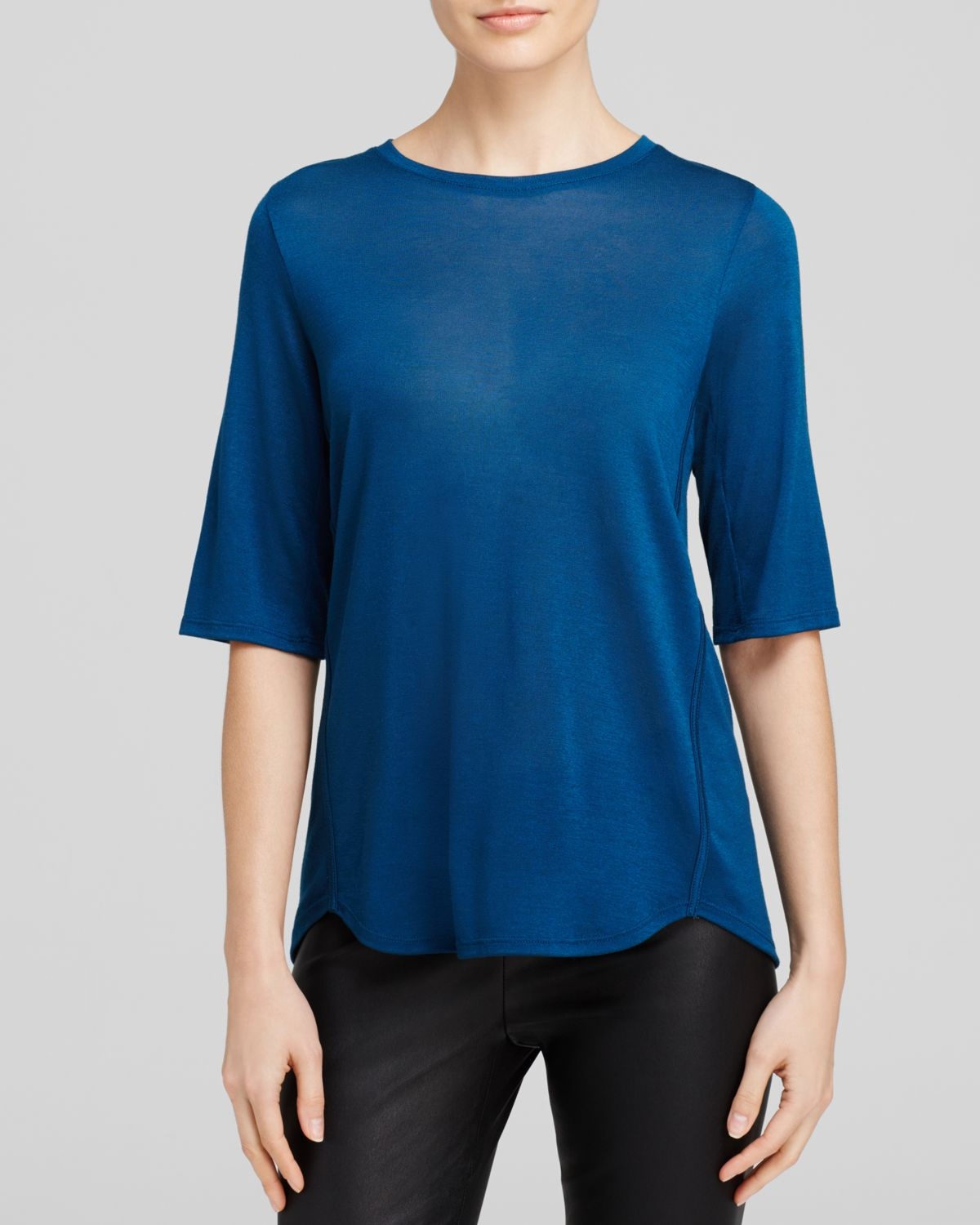 Vince elbow sleeve tee in blue lake lyst for Vince tee shirts sale